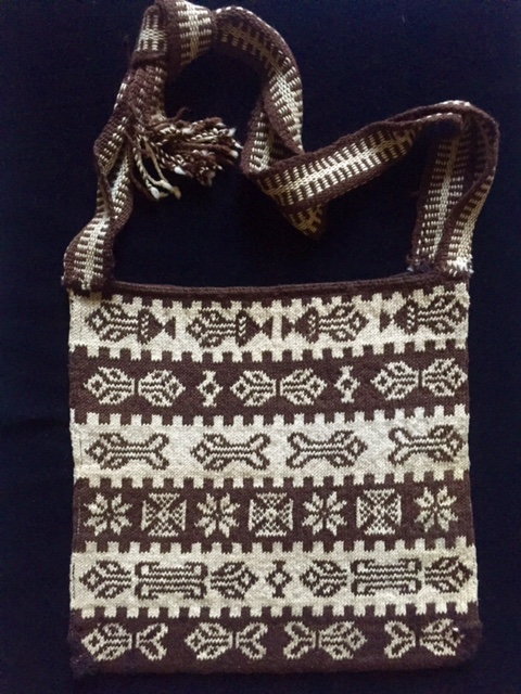 Lovely handwoven vintage men's morral with a geometric pattern