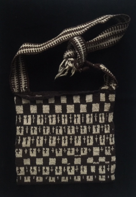 Love the geometric design on this vintage wool men's morral from Nahuala, Guatemala