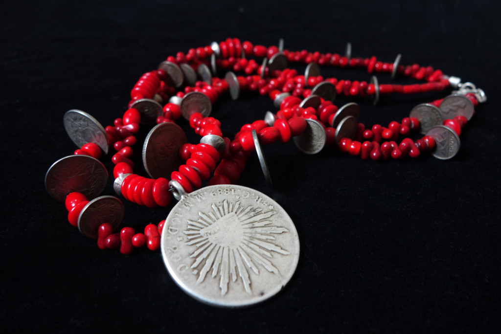 Vintage/Antique Silver Mexican Peso Coin & Assorted Red Trade Bead Chachal Necklace from Guatemala