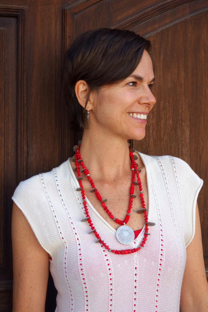 Antique Silver Mexican & Guatemalan Coins, Vintage Red Trade Bead Chachal Necklace from Guatemala
