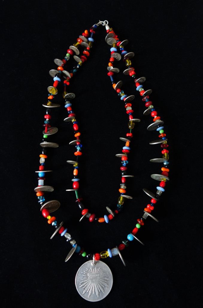 Antique Silver Mexican & Guatemalan Coins, Vintage Multi Color Trade Bead Chachal Necklace from Guatemala