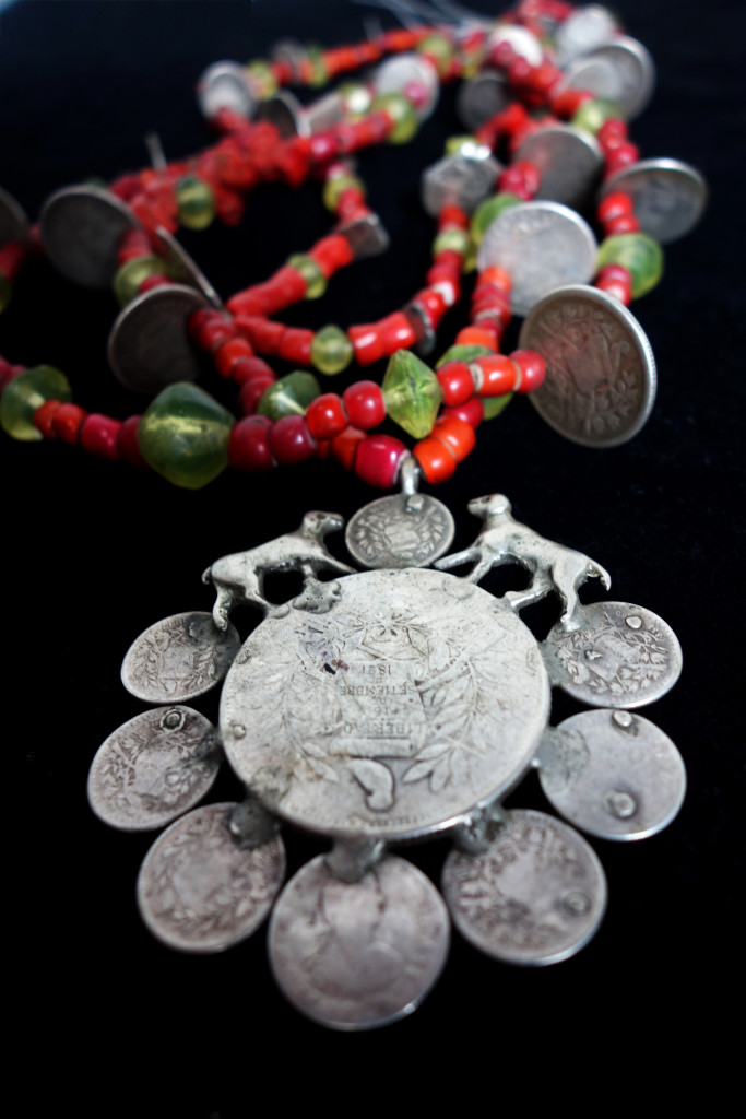 Chachal with stunning antique coin pendant, various antique coins, vaseline beads from Bohemia, & Venetian White Hearts