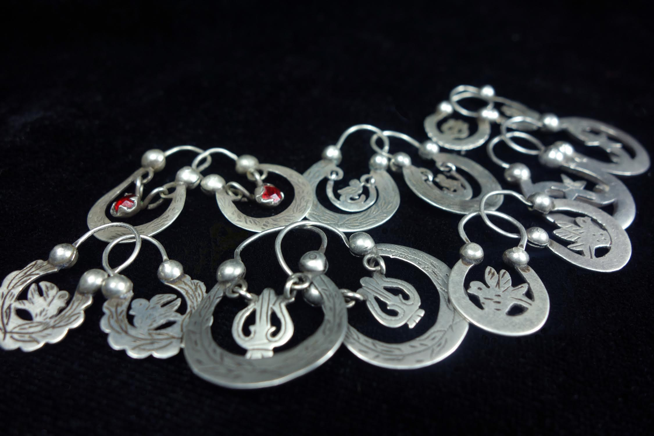 A Wonderful Collection of Antique Crescent Moon Earrings from The Highland Region of Guatemala
