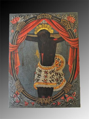 Antique Black Christ/Cristo Negro Painting from Guatemala