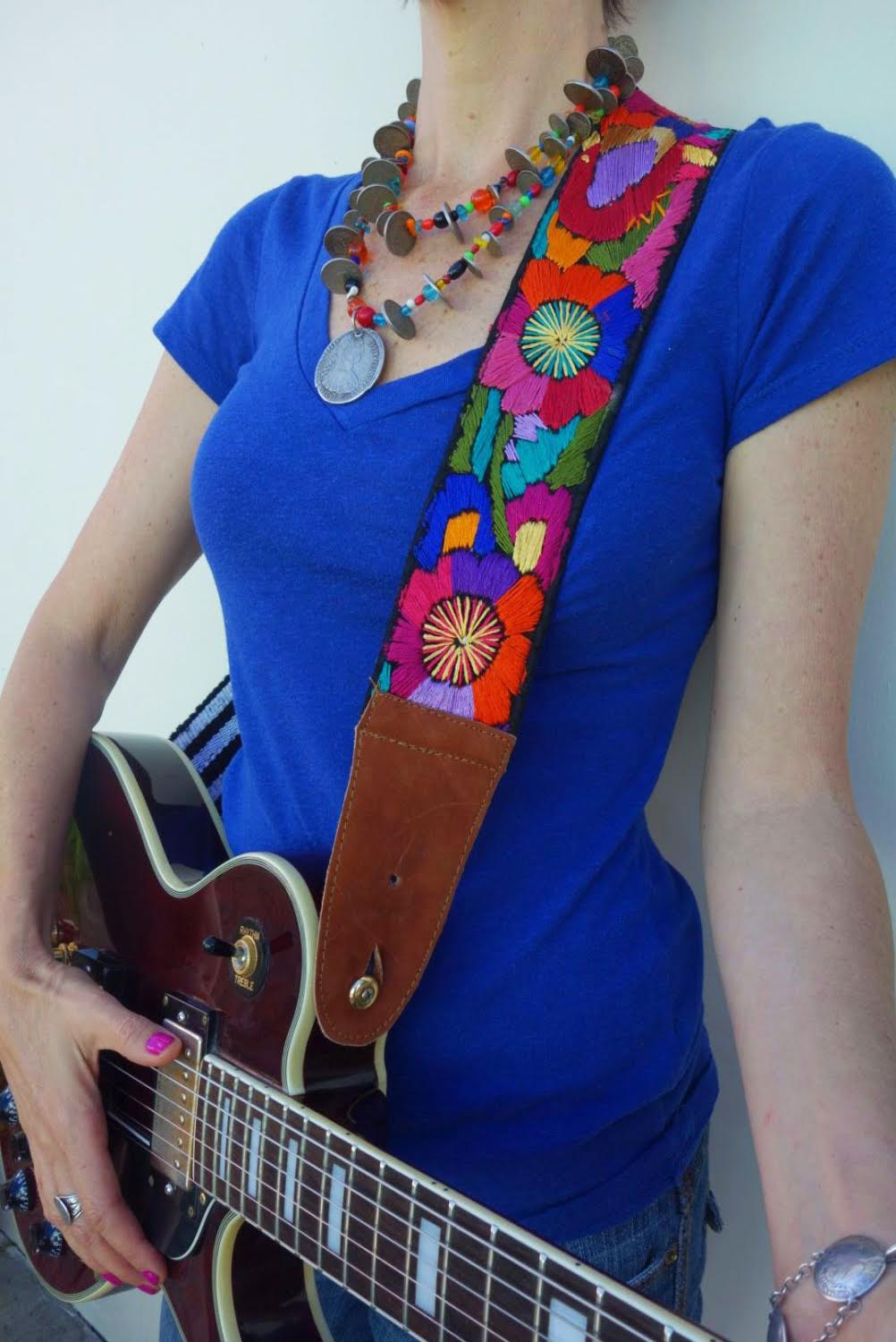 Vintage Maya Textile Guitar Strap & Antique Guatemalan Coin-Trade Bead Chachal Necklace