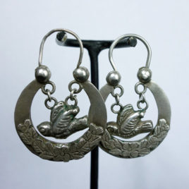 Antique Crescent Moon & Bird Hoop Earrings ca.early 19th century  – S O L D