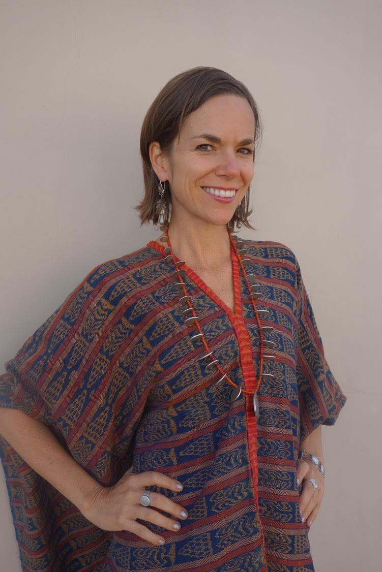 Our vintage maya textile indigo caftans also look lovely with our antique coin & trade bead chachal necklaces