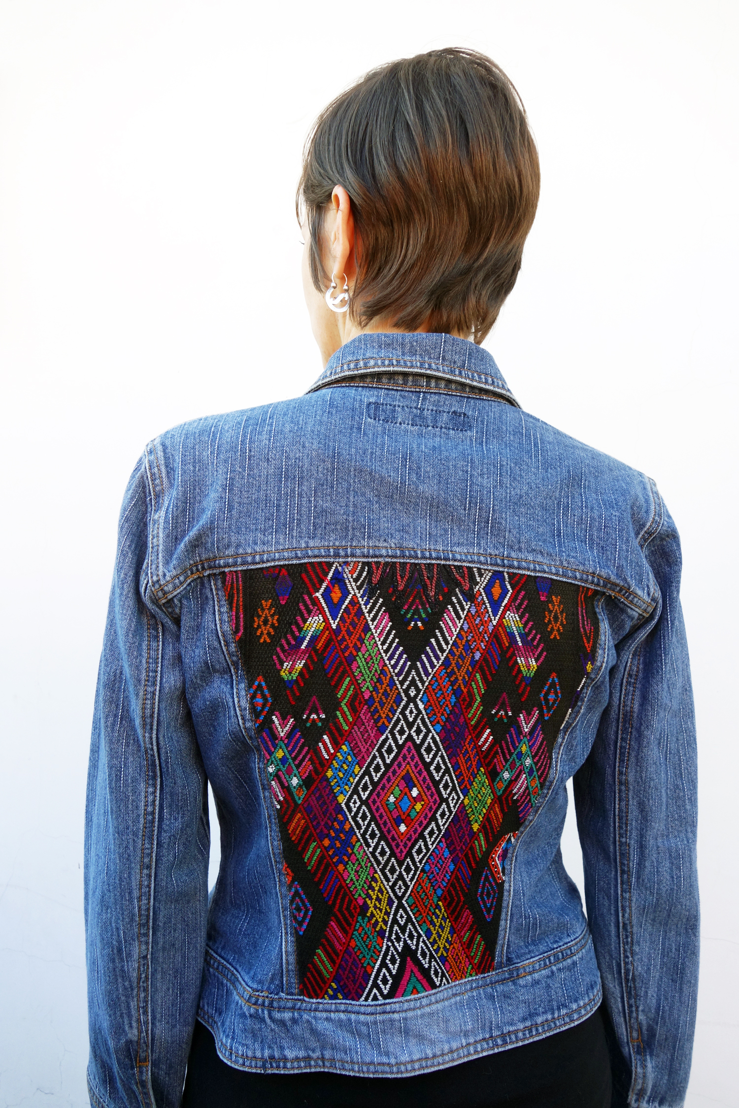 Coleccion Luna Denim jacket with vintage double headed eagle huipil textile