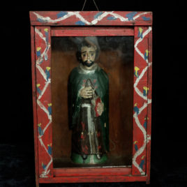 Antique/Vintage Nicho Home Altar with Hand Carved San Juan Saint Santo from Guatemala